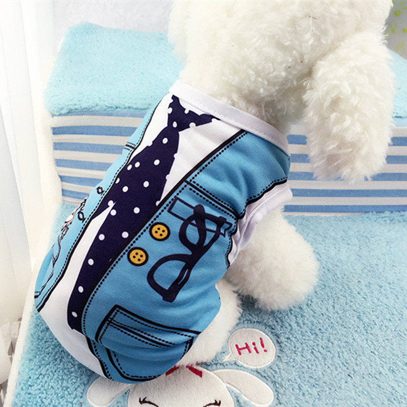 Spring/Summer Pet Dog Clothes For Small Dogs Coat Jacket False Strap Vest Print Cotton Puppy Chihuahua Costume Clothing Apparel