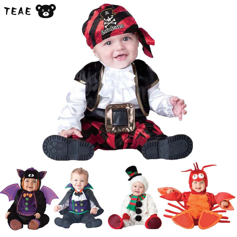 TEAEGG Easter Halloween Cosplay Funny Costume Pirate vampire photography Cute One Pieces Romper&hat&shoes Baby Jumpsuit 7-24M
