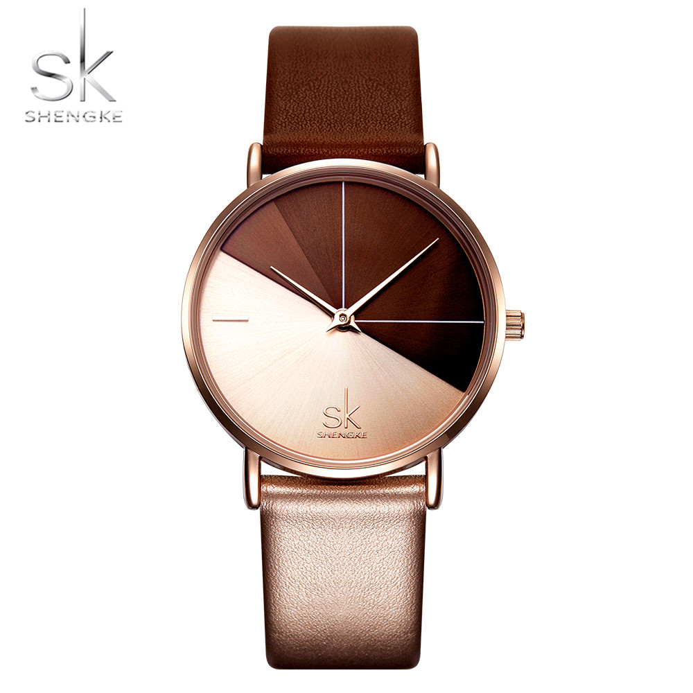Shengke Fashion Women Watches Simple Creative Dial Wristwatch Leather Strap Female Watch Ladies Quartz Clock Bayan Kol Saati