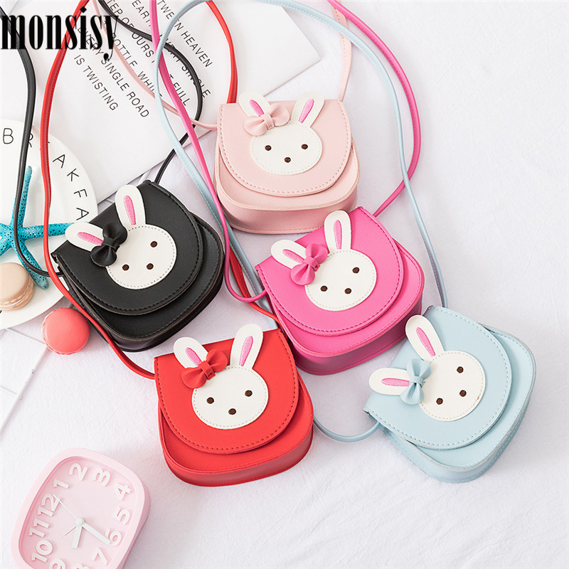 Monsisy 2019 Girl Coin Purse Handbag Children Wallet Small Coin Box Bag Cute Rabbit Kid Money Bag Baby Shoulder Bag Change Purse