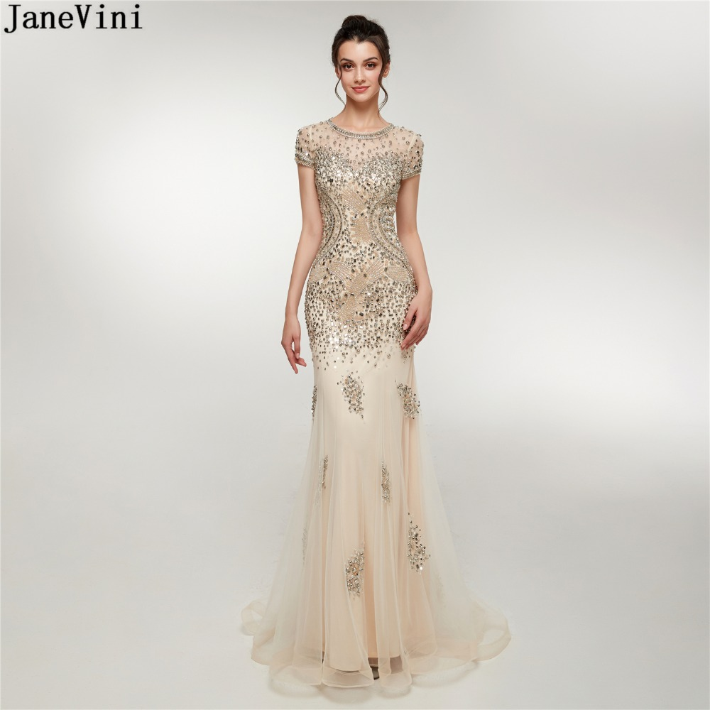 JaneVini Luxury Beading Dubai Tulle   Bridesmaid     Dresses   Scoop Neck Sexy Mermaid Short Sleeve Illusion Back Women Prom Party Gowns