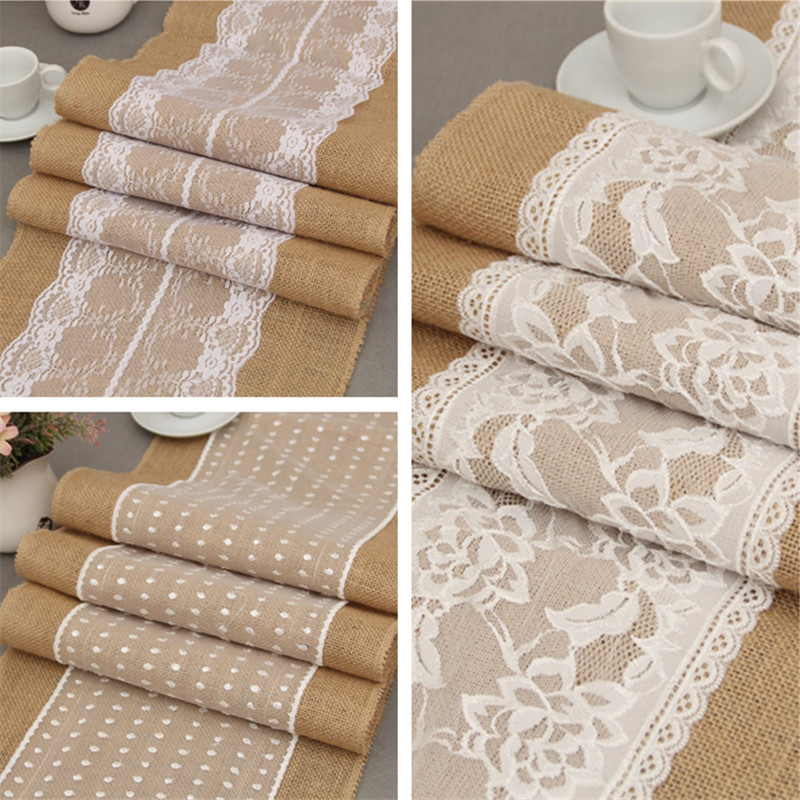 Natural Jute Burlap Lace Patchwork Wedding Table Runner Christmas Craft Flowers Vintage Decoration
