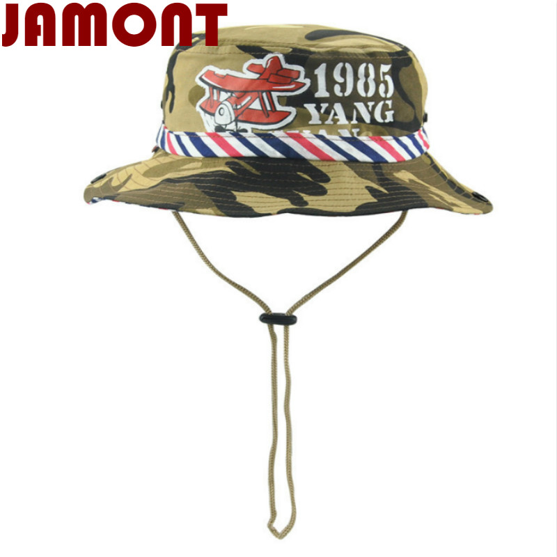 31610d30cdd Detail Feedback Questions about  JAMONT  Casual cotton children wide brim  camo bucket hat kids boy girl summer sun hat Camouflage fisherman panama  fishing ...