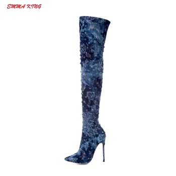 2019 Blue Denim Women Winter Thigh High Boots Pointed Toe Sexy Thin High Heels Ladies Party Shoes Woman Over The Knee Long Boots