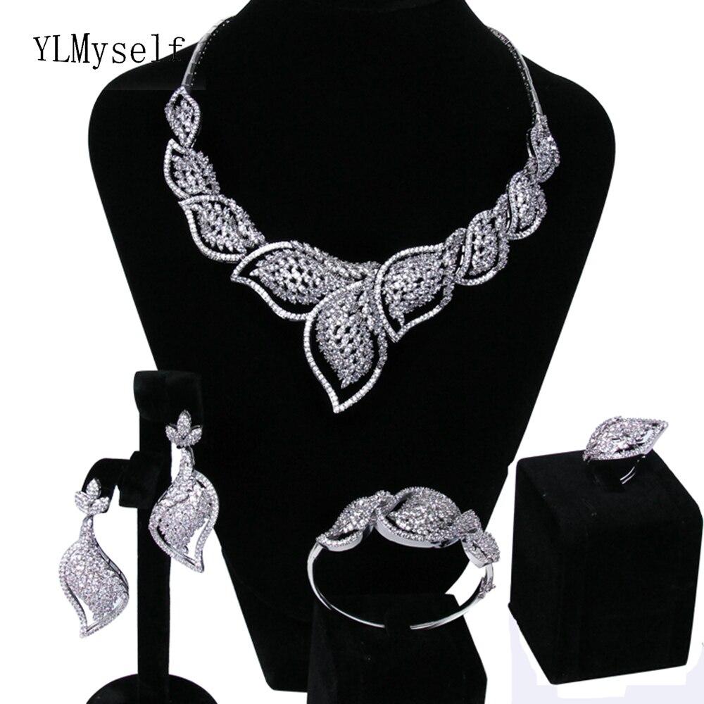 Grande qualité supérieure fiançailles 4 pièces ensembles Blanc en cristal Collier + Bracelet + boucles d'oreilles + bague grand ensemble de bijoux pour la mariée