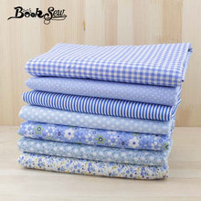 Booksew 7pcs/lot 50cmx50cm blue cotton fabric fat quarter tilda cloth patchwork quilting diy basic quality tissu factory direct(China)