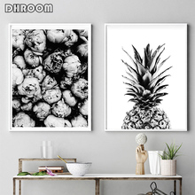 Black and White Peony Posters Prints Pineapple Wall Art Motivational Quote Canvas Painting Modern Picture Home Decor