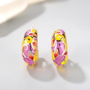 Image 3 - 2018 New 925 Sterling Silver like butterfly wings yellow pink Enamel DIY gift fashion luxury Ear clip Party Jewelry