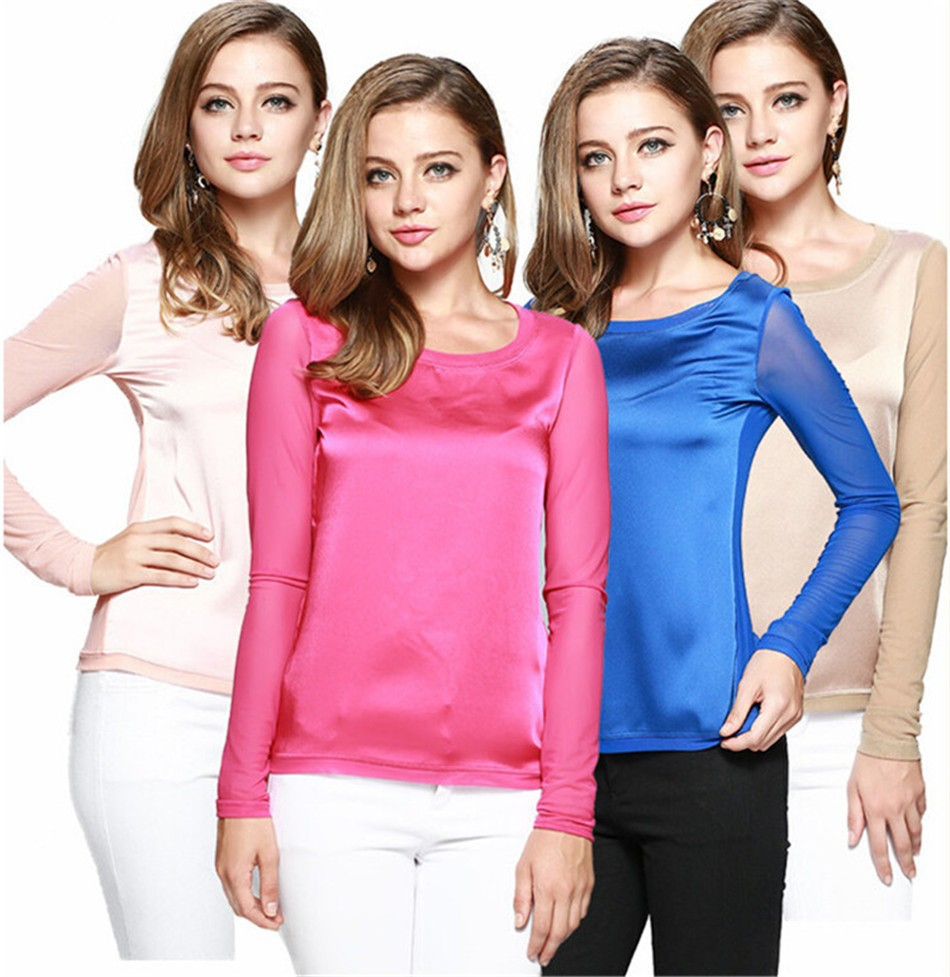 2015 Real Silk Made Big Size S-XXL Women T-shirt Top Tees Casual Women T shirt Large Size Tshirt Cropped Tops For Women (9)