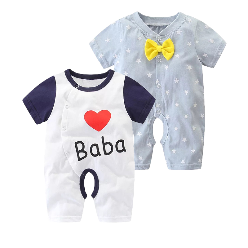 2Pcs/Pack Summer New Infant Baby Boys Girls   Rompers   Newborn Cotton Short Sleeved Clothes Set Lovely Cartoon Bowtie Clothing
