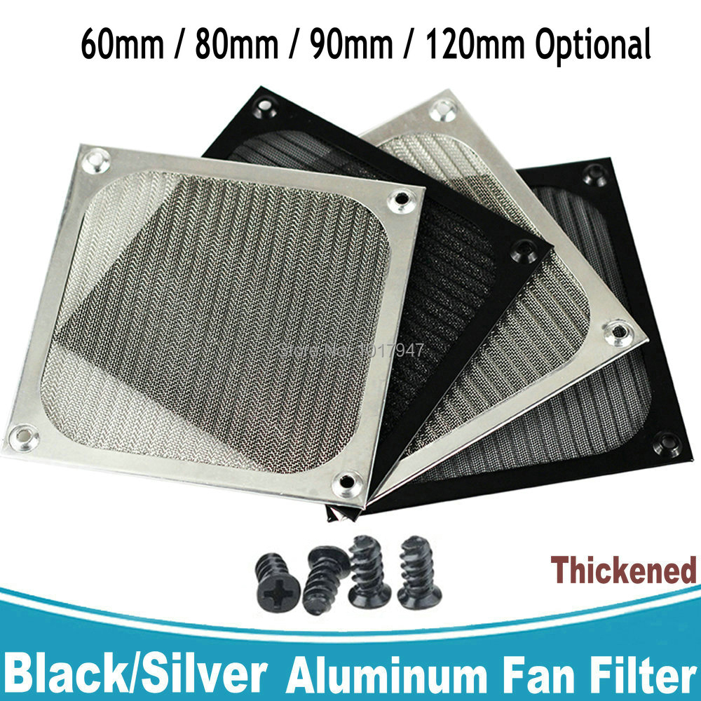 Gdstime Thickened Aluminum Dustproof Fan Filter 60mm 80mm 90mm 120mm Dust Cover Computer PC Case Grill Guard With Screws