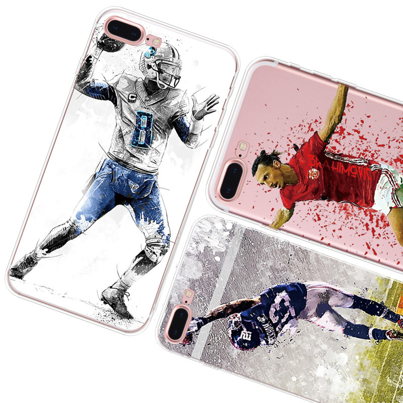 New For iPhone 8 5 5S 6 6S 7 7 PLUS Football Superstar Winner Football Basketball MBA Soft TPU Football Clear Phone Cases Coque image