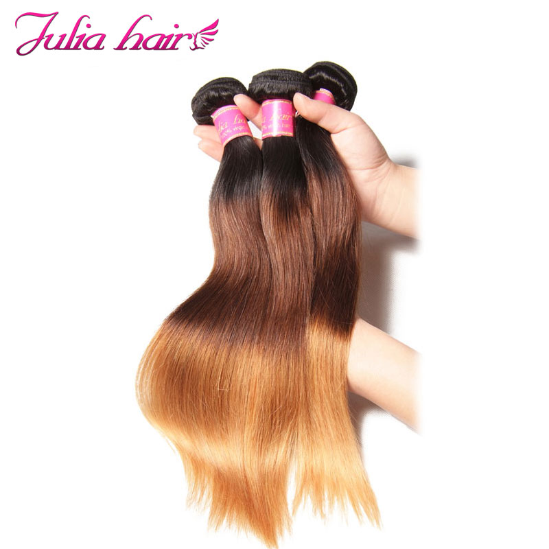 Ali Julia Brazilian Straight Ombre Human Hair Weave Bundles 16 26 Inches Hair Extensions Double Weft
