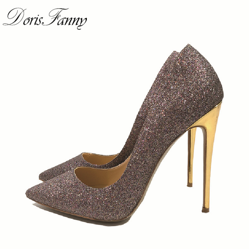 DorisFanny Sparkly Glitter Sequin high heel pumps Shoes Sexy Party Club Prom 12cm size 33-45 womens high heel shoes sleeveless lace spliced bodycon mini dress