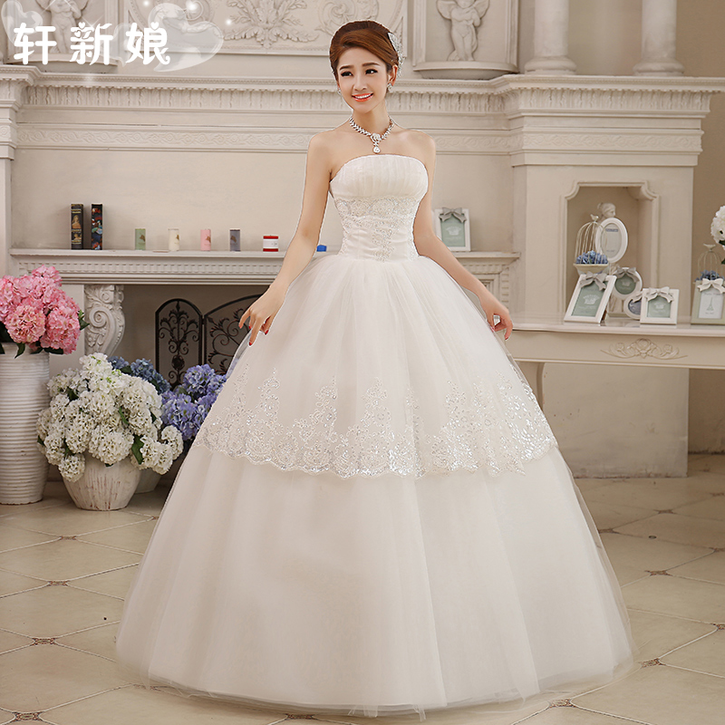 Z w 2016 stock nouvelle grande taille robe de mariée femmes robe de mariée douce bustier tubulaire princesse dentelle laciness sangle style satin A44