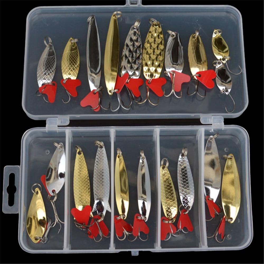 Aspiring 10pcs/20pcs Boxed Spinner Spoon Fishing Lures Metal Hard Bait Kit Iscas Artificias Crankbait Fresh Water Bass Pike Carp Bait Fishing Lures