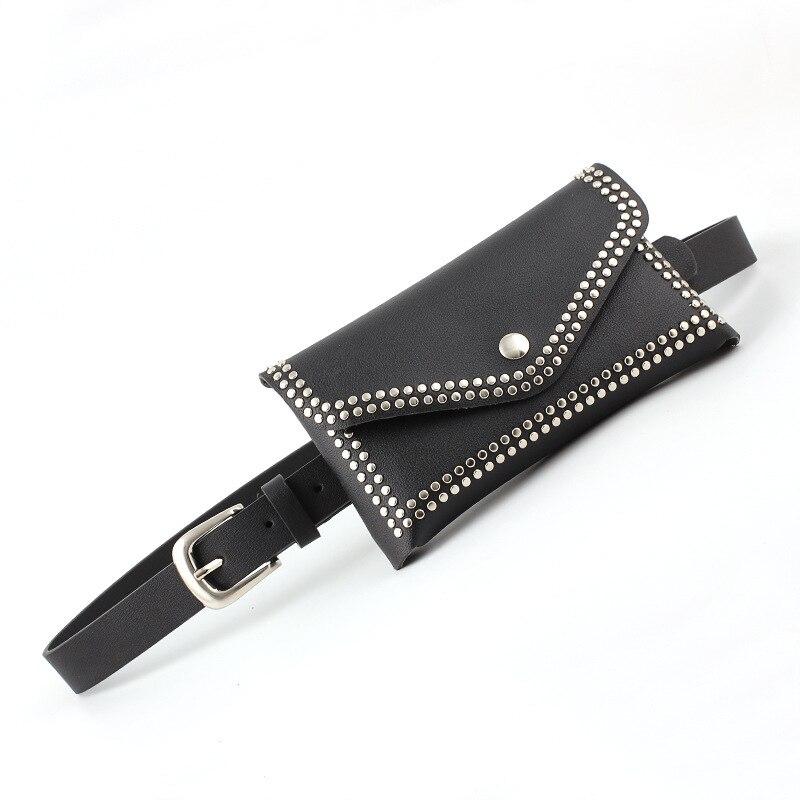 Studded Women Leather   Belt   with Fashionable Envelope Bag Metal Buckles Wide   Belts   Dress Jeans Decor Luxury Brand Women's   Belts