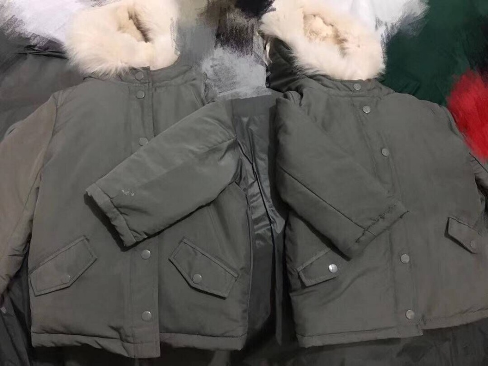 Kids down jacket duck down coat with fur hat cloak for boys girls winter warm outwear down clothes