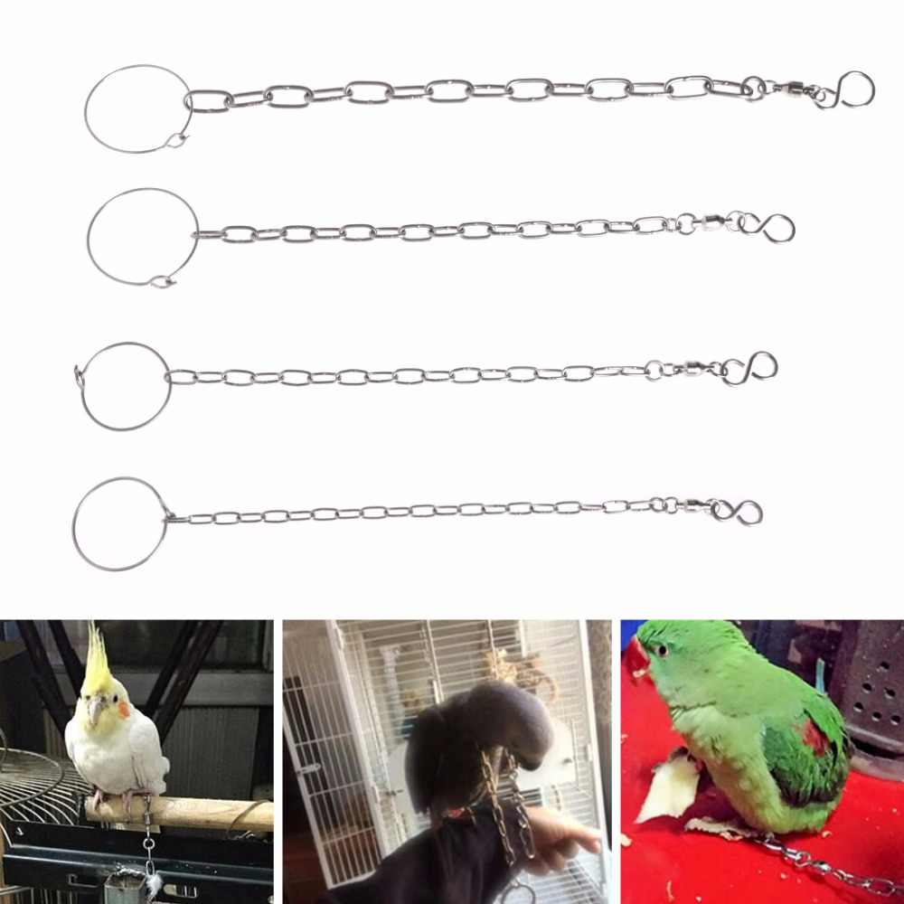 1Pc New Bird Parrot Foot Chain Stainless Steel Ankle Foot Ring Stand Outdoor Flying Training Bird Accessories S/M/L/XL C42