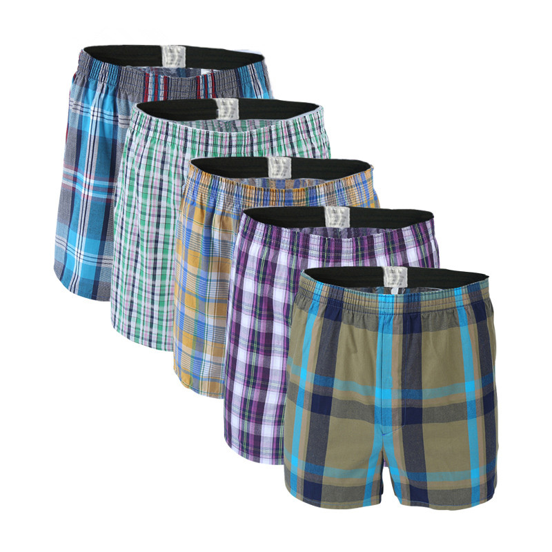 Boxers Shorts Panties Homewear Underpants-Quality Loose Comfortable Plaid Sleep Cotton