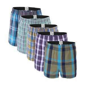 Image 1 - 5 Pcs Heren Ondergoed Boxers Shorts Casual Katoen Slaap Onderbroek Kwaliteit Plaid Losse Comfortabele Homewear Gestreepte Pijl Slipje