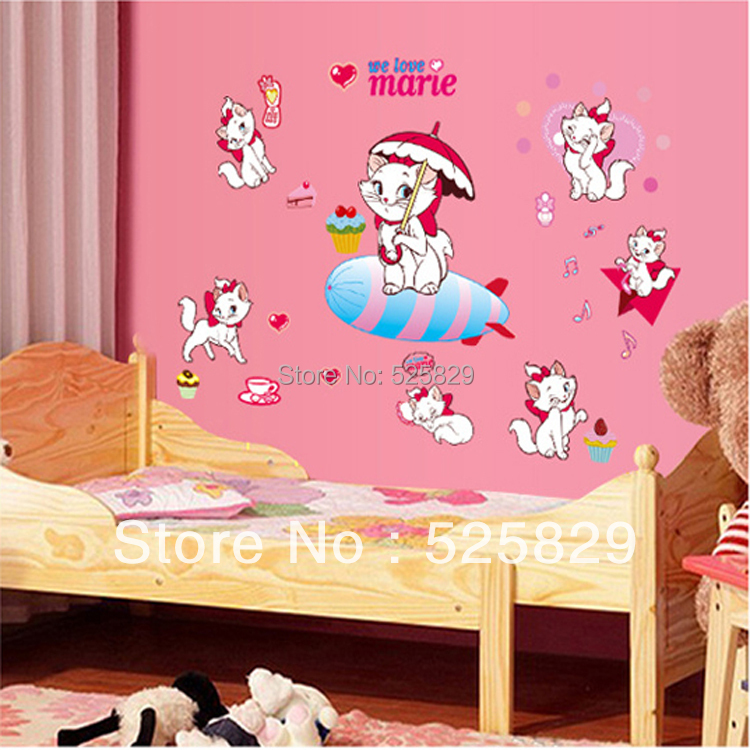 2016 New! Cute Cartoon Cat Wall Sticker/ Living Room Decor/ TV Background Decoration Kids Bedroom Wall Stickers