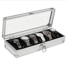 6 Grid Insert Slots Jewelry Watches Display Storage Box Case Aluminium Watch Box Jewelry Decoration organizer Holder New Arrival(China)