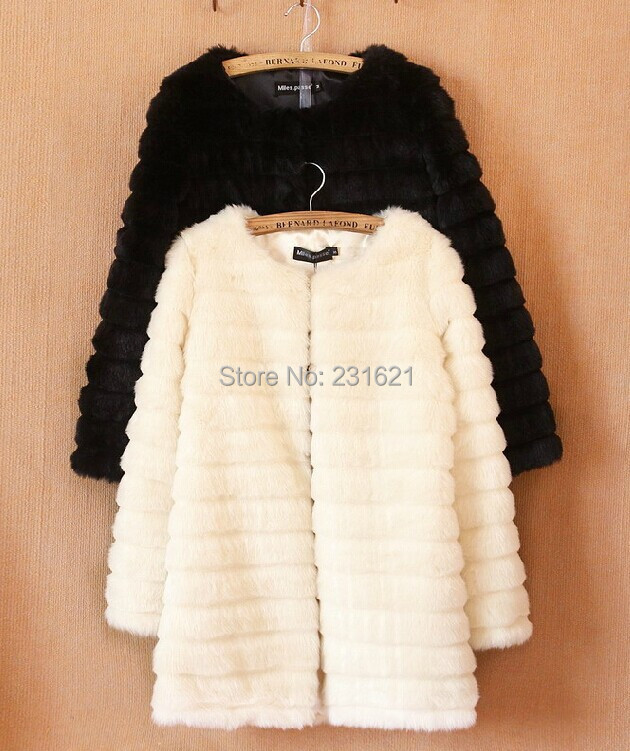 Good quality! 2014 autumn and winter women's long Faux Fur coat rabbit fur thick warm overcoat outerwear black tb