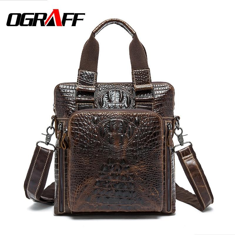 ФОТО OGRAFF Men messenger bag genuine leather bag men handbags leather briefcases 2017 designer vintage business shoulder bag men