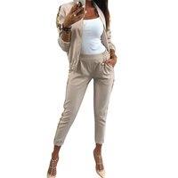 MVGIRLRU Outfit Women Casual Cotton Tracksuit Women 2 Piece Set Zipper Jacket and Pants Sequined Patchwork Outwear Sweat Suit