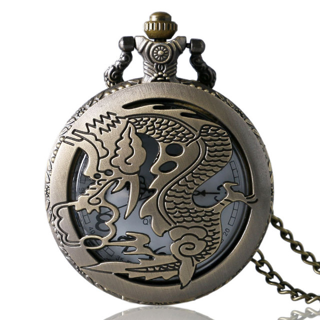 4.7cm Steampunk retro mechanical pocket watch Antique Dragon stereo carve patterns mechanical pocket watch