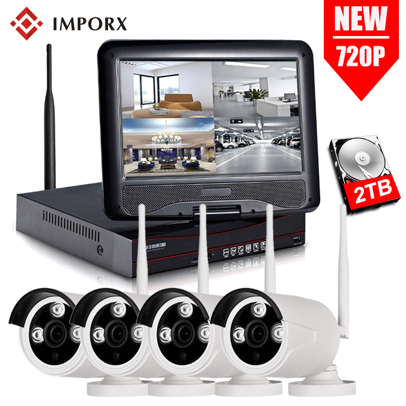 4CH Home Security Wifi CCTV System Wireless NVR Kit 10 LCD Monitor Screen 720P 1MP Outdoor IP Camera P2P Video Surveillance Set 4ch wireless nvr kit 13 lcd monitor screen waterproof 1080p 2mp security cctv ip camera wifi p2p video surveillance system set