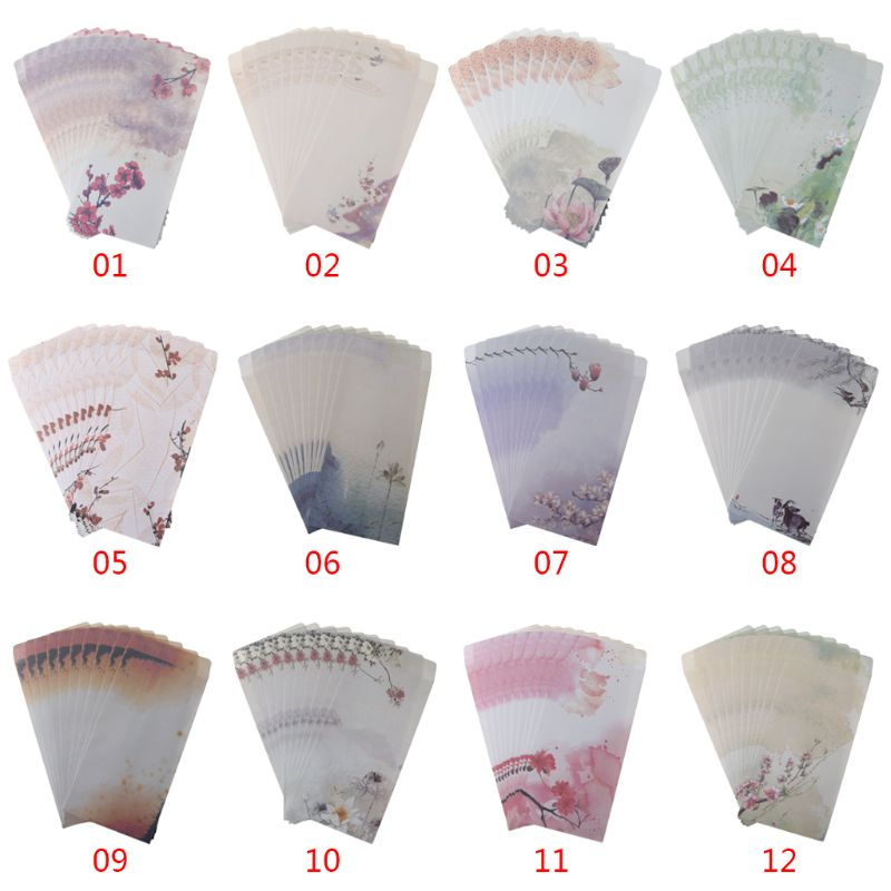 10Pcs/set Beautiful Chinese Style 5th Envelope Ink Painting Writing Packaging Supplies Bagged Letter Tools