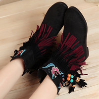 Vintage Chinese floral embroidered Bohemia beads tassel suede ankle boots fashion autumn/winter shoe zipper closure type
