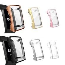 סיליקון Case כיסוי עבור Fitbit תשלום 3 להקת TPU מגן מסגרת עבור Fit קצת Charge3 מגן פגז החלפת אביזרים