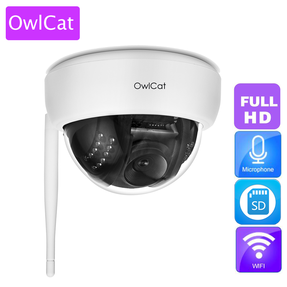 OwlCat Wireless Home Dome IP Camera 1080P Indoor Full HD Security WiFi IP Camera with Audio Microphone SD Memory Slot Onvif full hd ip camera 5mp with sound dome camera ip cam cctv home security cameras with audio indoor cameras onvif p2p