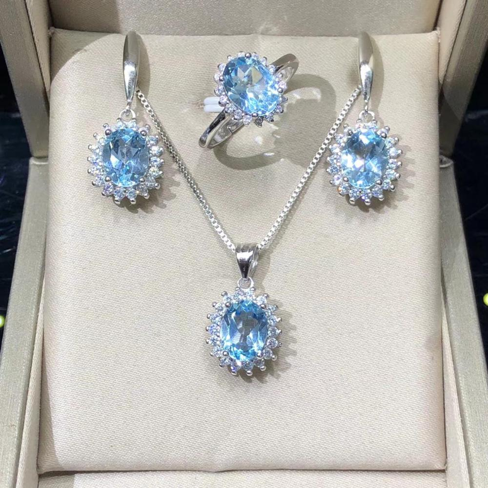 Fine Jewelry set Pendant Necklace Earrings Rings 100% Natural Topaz Stones Women 925 Silver Jewelry For Gift