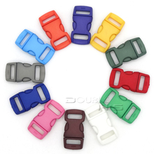 """500pcs/lot Mixed Colorful 3/8""""(10mm) Plastic Buckles Contoured Curved For Paracord Bracelets"""