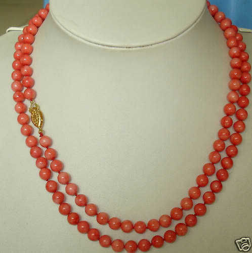 35''new design long natural 6mm red coral necklace gold 5.27
