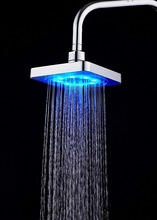 6 inch LED Shower Head Rainfall Top Spray 7 Colors Gradual Changing and 3 colors Temperature Sensor Square Fixed Showerhead