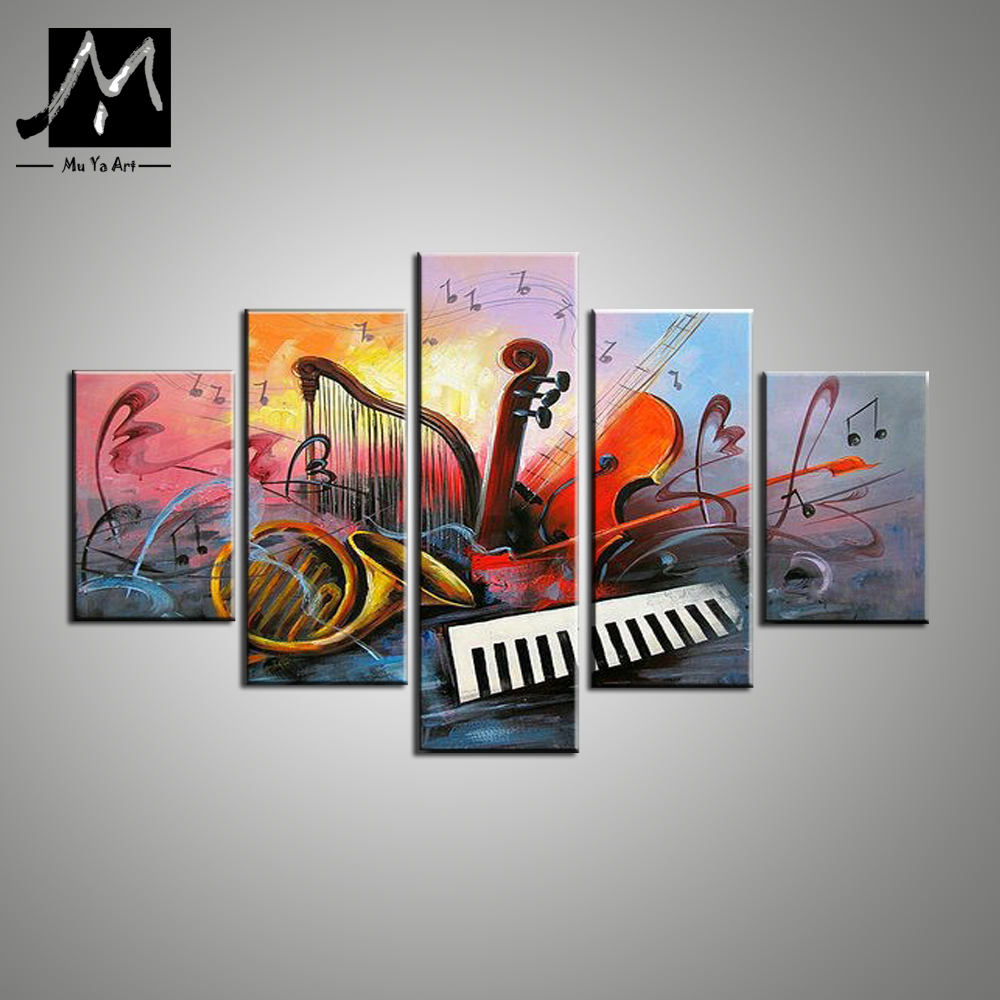 5 Piece Canvas Art Abstract Paintings Musical Instruments
