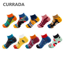 10 пар/лот, мужские счастливые летние носки до щиколотки, новинка, креативная живопись, повседневные носки-лодочки, хлопковые Цветные