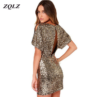 ZQLZ 2018 New Summer Sequined Bodycon Backless Sexy Dress Plus Szie Women Clothing O Neck Short Sleeve Evening Party Dresses