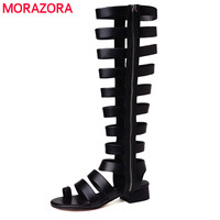 MORAZORA 2018 New Genuine Leather Gladiator Sandals Women Cut Outs Sexy Summer Shoes Woman Black Ladies