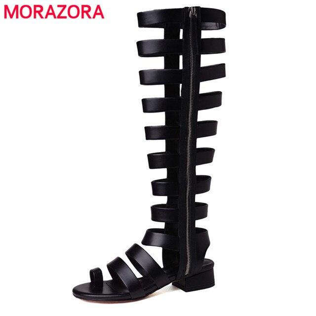 MORAZORA 2019 yeni hakiki deri gladyatör sandalet kadın kesimler seksi yaz ayakkabı kadın siyah bayan sandalet