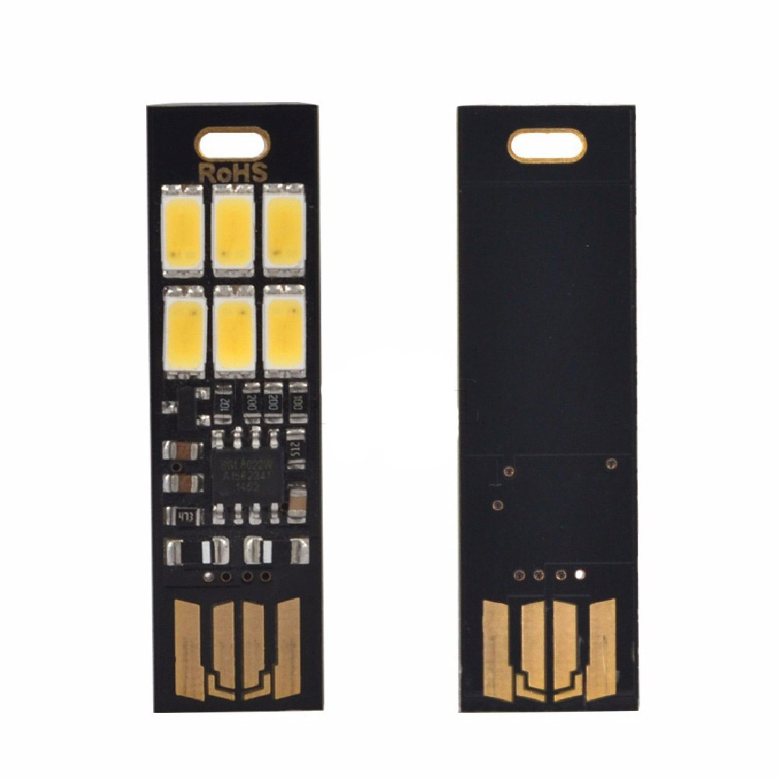 Night Lamp Mini Pocket Card USB Power 6 LED Keychain Night Lights Touch Dimmer Warm Light for Power Bank Computer Laptop