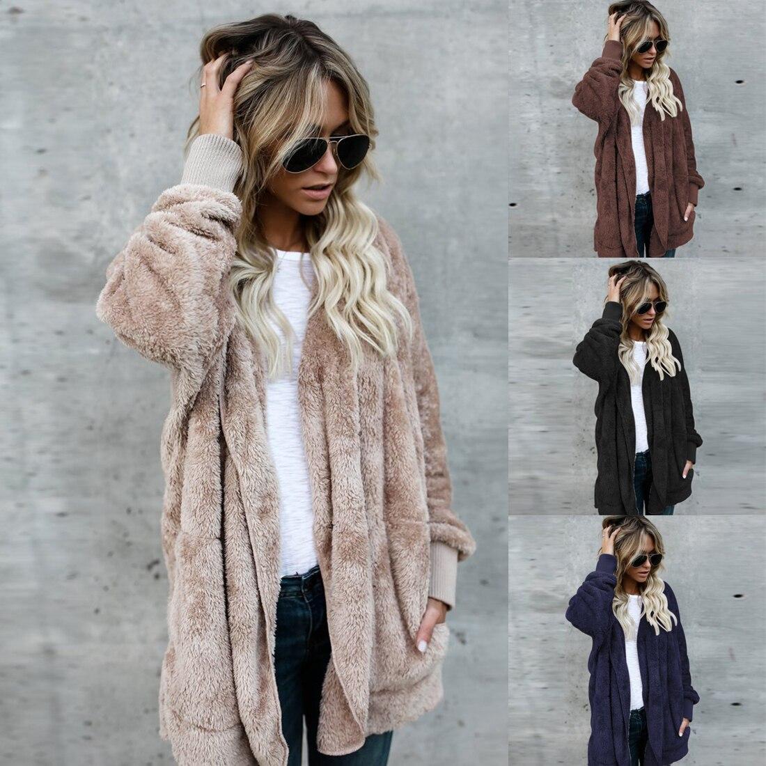 Both Sides Wear Faux Fur Long Winter Jacket Women Autumn Winter 2017 Warm Coat Thicken Hooded   Parka   Women Outwear
