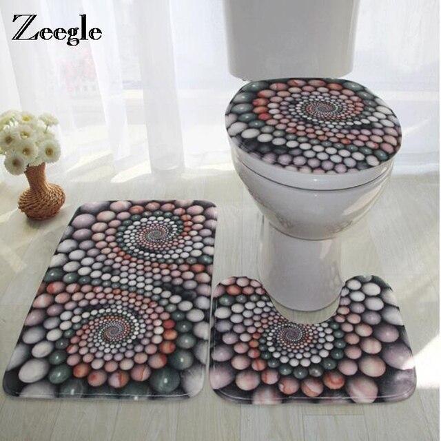 Zeegle Bath Mat 3D Stone Pattern Floor Mat Bathroom Carpet Mats Anti-slip Toilet Rugs Absorbent Bathroom Foot Pad