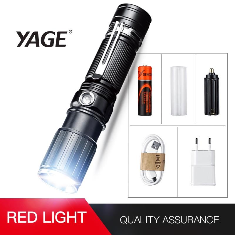 YAGE Flashlight xml t6 Aluminum Zoom CREE LED 18650 White/Red Flashlight USB Torch Light with 18650/4*AAA/1*26650 Battery 342