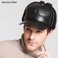 Jancoco Max Genuine Sheepskin Leather Bomber Hats Winter Warm Earflap Hats Black Faux Fur Lined Caps